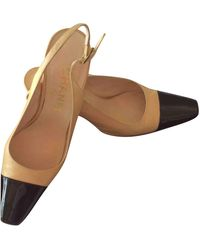 Chanel Slingback Leather Heels - Natural