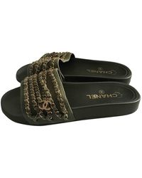 Chanel Khaki Plastic Sandals - Multicolour