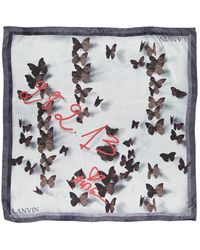 Lanvin Gray Silk Scarves