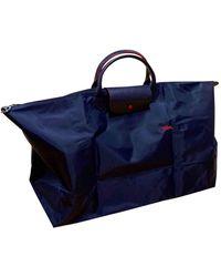 Longchamp Navy Cloth Travel Bag - Blue