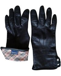 Burberry Vintage Black Leather Gloves