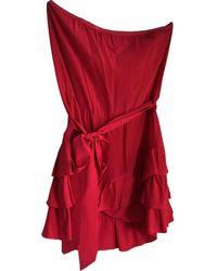 Maje Robe en Soie Rouge - Multicolore