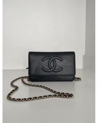 Chanel Sac à main Wallet on Chain en Cuir Gris