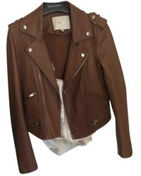 Maje Leather Jacket - Brown