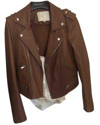 Maje Leather Jacket - Brown