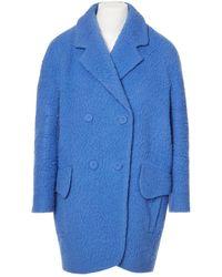 Carven Mantel en Laine Bleu