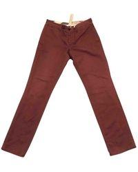 Burberry Burgundy Cotton Trousers - Multicolour