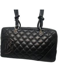 Chanel Cambon Leather Handbag - Black