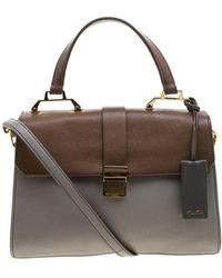 Miu Miu Madras Gray Leather Handbag