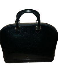 Louis Vuitton Sac à main Alma en Cuir verni Vert - Noir