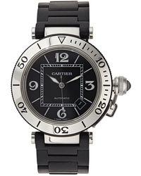 Cartier - Pasha Seatimer Black Steel Watches - Lyst