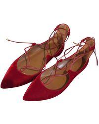 Aquazzura Christy Red Velvet Ballet Flats