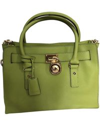 Michael Kors Hamilton Leather Handbag - Green