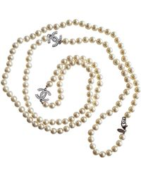 Chanel - Silver Plastic Long Necklace - Lyst