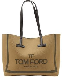 Tom Ford Bolsa de mano en lona caqui \N - Neutro