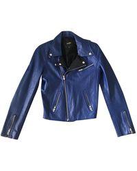Maje Leather Jacket - Blue