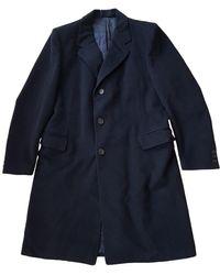 Lanvin Navy Wool Coats - Multicolor