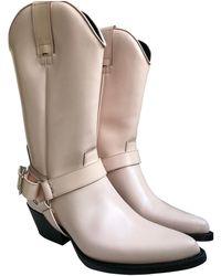 CALVIN KLEIN 205W39NYC Leather Cowboy Boots - Pink