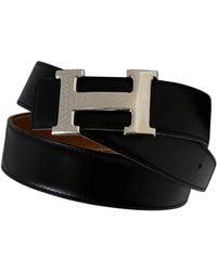 Hermès H Leather Belt - Black
