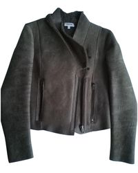 Helmut Lang - Grey Leather Leather Jacket - Lyst