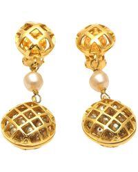 Chanel Pendientes en metal dorado - Metálico