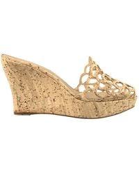 Oscar de la Renta Leather Heels - Metallic