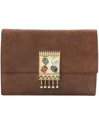 Missoni - Brown Leather Clutch Bag - Lyst