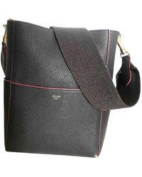 Celine Seau Sangle Leather Tote - Gray