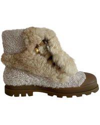 Chloé Shearling Boots - Natural