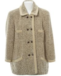 Chanel Beige Wool Coat - Natural