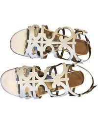 Hermès White Leather Sandals