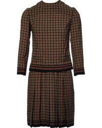 Balmain Robes en Laine Marron - Multicolore