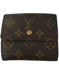 Louis Vuitton Portamonete in Tela - Marrone