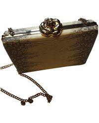 Oscar de la Renta Lizard Clutch Bag - White
