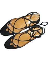 Aquazzura Christy Black Suede Ballet Flats