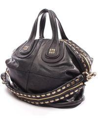 Givenchy Bolsa de mano en cuero negro Nightingale