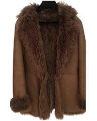 Burberry Shearling Caban - Brown