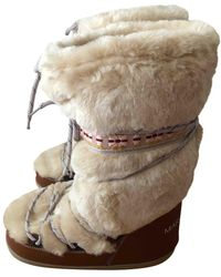 Marc Jacobs Shearling Snow Boots - Natural