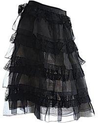 Oscar de la Renta Black Silk Skirt
