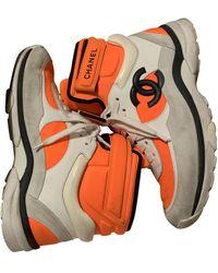 Chanel Ankle Strap Sneakers - Orange