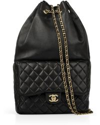 Chanel - Timeless Black Leather Backpacks - Lyst