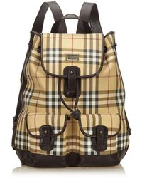 6fb5d2d43b39 Burberry - Pre-owned Brown Cloth Backpacks - Lyst