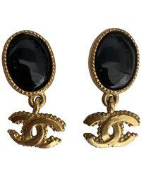 Chanel Pendientes en metal dorado CC - Multicolor