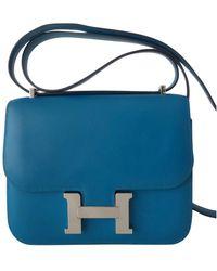 Hermès Constance Blue Leather Handbag