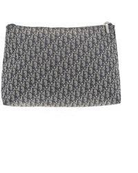 Dior Blue Cloth Clutch Bag - Grey