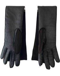 Lanvin Leather Long Gloves - Brown