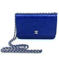 Chanel Bolsa de mano en cuero azul Wallet on Chain