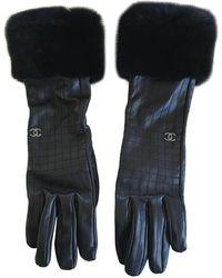 Chanel Leder Lange handschuhe - Schwarz
