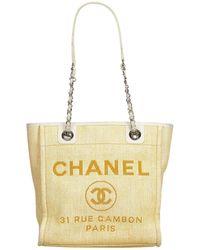 Chanel - Deauville Brown Wicker Handbag - Lyst