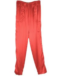 Lanvin Red Silk Trousers